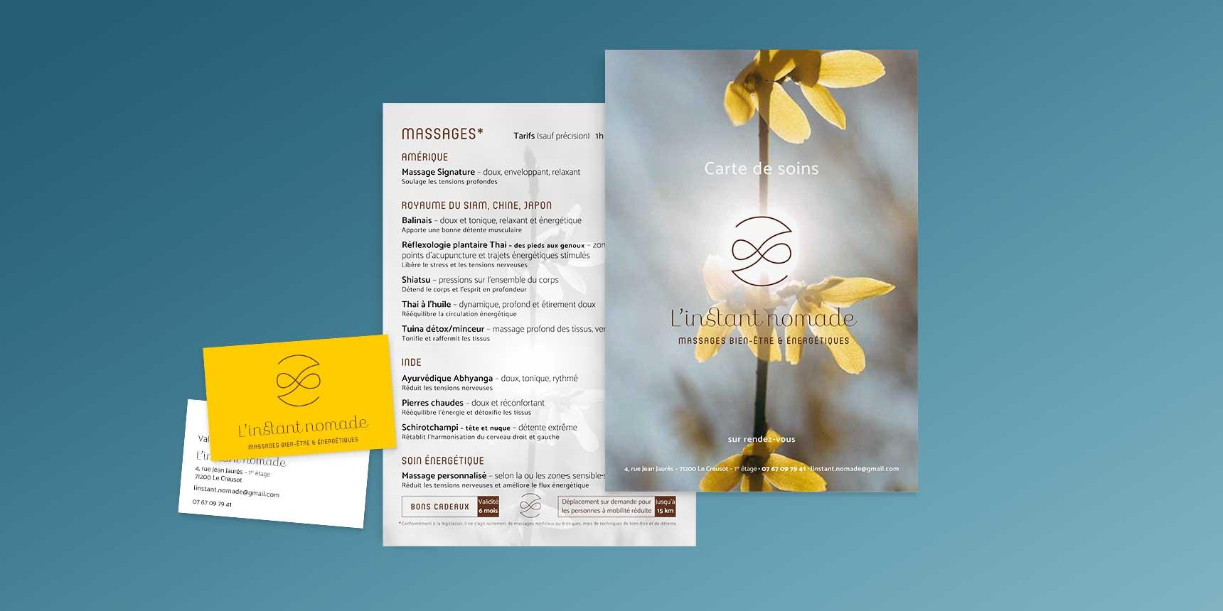 Création flyers, cartes de visite, cartes de soins